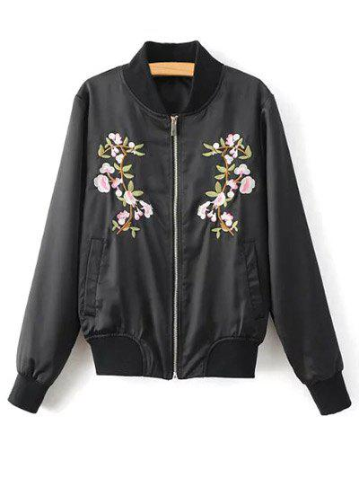 Outfits Stand Neck Floral Embroidered Fall Bomber Jacket