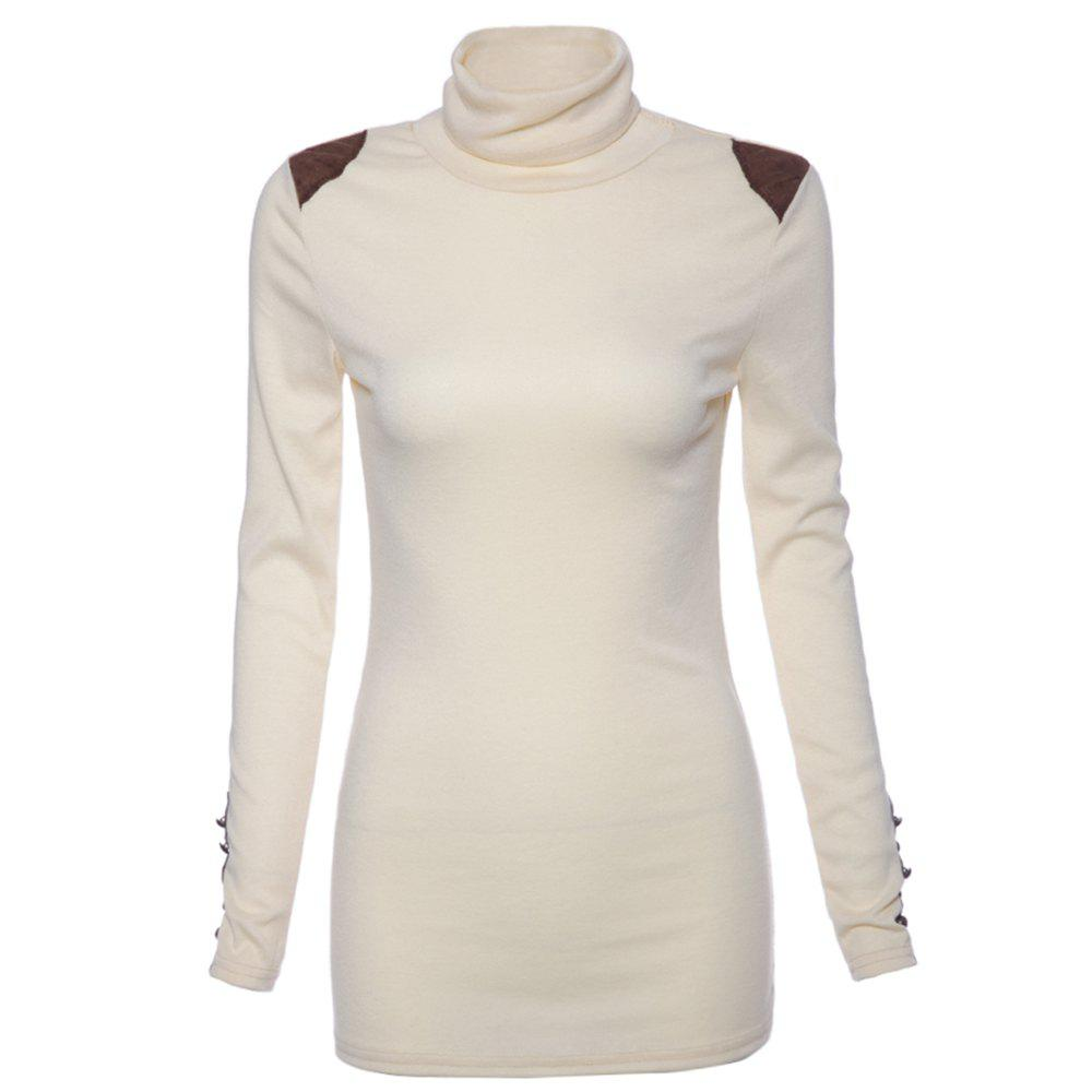 Bead Splicing Turtle Neck SweaterWOMEN<br><br>Size: ONE SIZE; Color: WHITE; Type: Pullovers; Material: Cotton; Sleeve Length: Full; Collar: Turtleneck; Style: Casual; Pattern Type: Patchwork; Season: Fall,Spring; Weight: 0.260kg; Package Contents: 1 ? Sweater;
