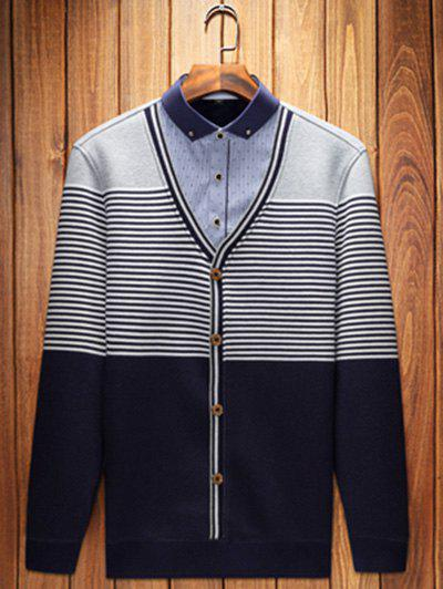 Shop Button-Down Collar Striped Pullover Faux Twinset Top