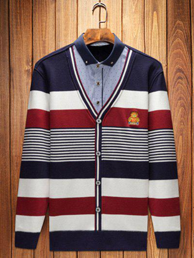 Shirt col broderie Striped Pull Faux Twinset Top