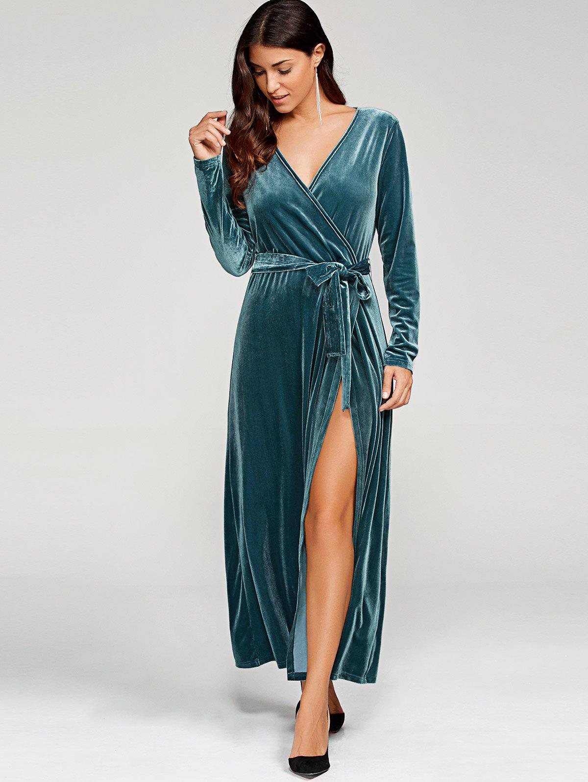 Discount Long Sleeve Velvet Knot Wrap Maxi Dress
