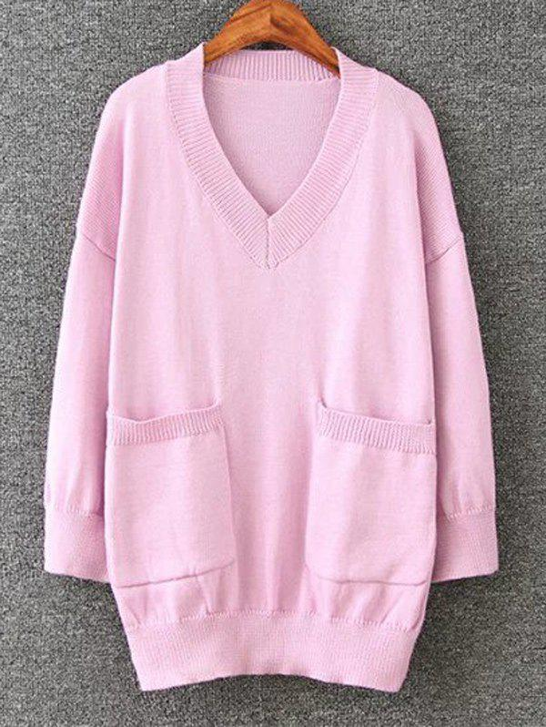 Cheap Long Pullover Plus Size V Neck Sweater with Pockets