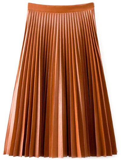 Online Accordion Pleat PU Leather Skirt