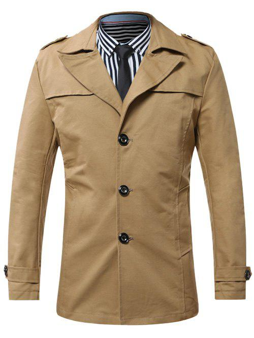 Fancy Turn-Down Collar Single-Breasted Epaulet Trench Coat