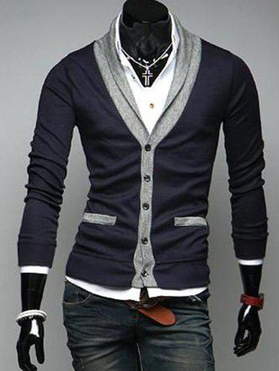 Two Pocket Styling Shawl Collar CardiganMEN<br><br>Size: XL; Color: CADETBLUE; Type: Cardigans; Material: Cotton Blends,Polyester; Sleeve Length: Full; Collar: Shawl Collar; Style: Fashion; Weight: 0.350kg; Package Contents: 1 x Cardigan;