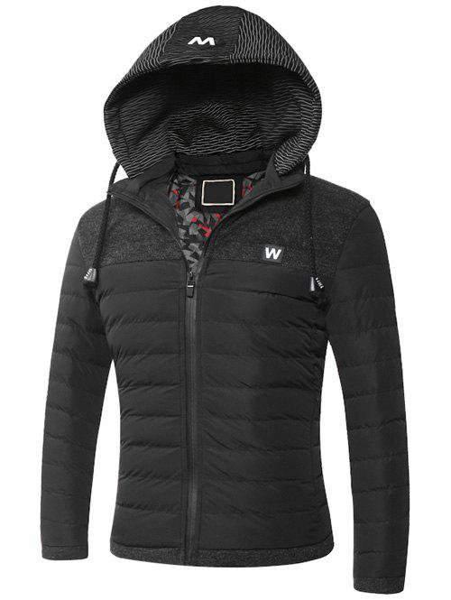 Hooded Zip-Up Splicing Veste matelassée Noir L