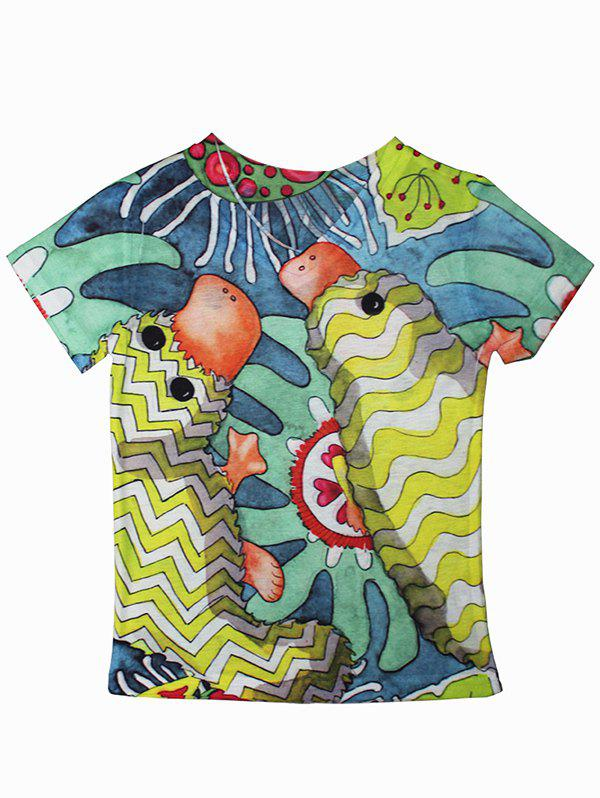 Chic Cartoon Pattern Short Sleeve T-Shirt