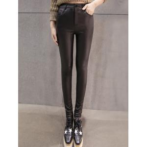 High Waist Flocking Faux Leather Pants