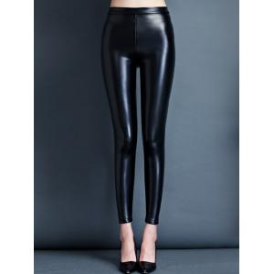 Stretchy Faux Leather Skinny Slimming Pants