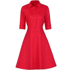 Vintage Button Design High Waist Dress