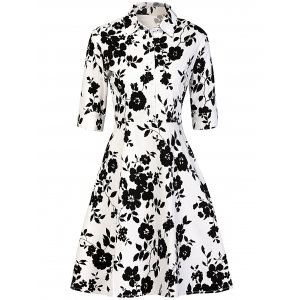 Vintage Buttoned Floral Print Dress
