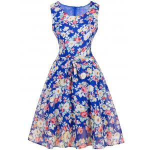 Vintage Ornate Floral Belted Tea Dress - Blue - L