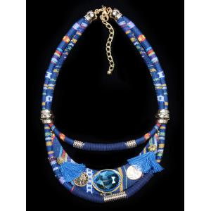 Ethnic Layered Faux Crystal Statement Necklace
