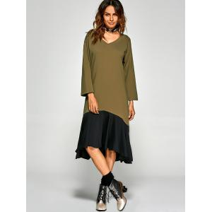 Loose Fit Flounce Hem Asymmetric Dress - CELADON ONE SIZE