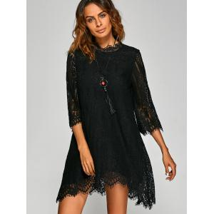 Casual Irregular Hem Openwork Lace Dress With Sleeves - BLACK XL
