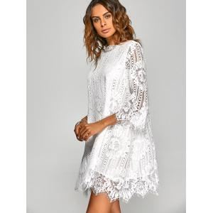 Loose Irregular Hem Openwork Lace Dress With Sleeves - WHITE M