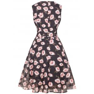 Floral Chiffon Knee Length Belted Flare Dress -