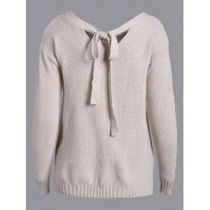 Back Tie Buttons Embellished Sweater - APRICOT XL