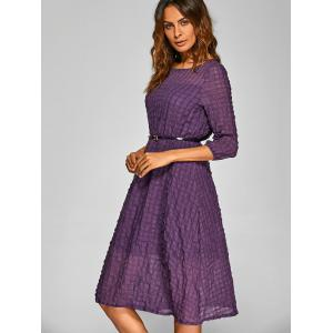 Plaid Pattern A Line Swing Dress - PURPLE L