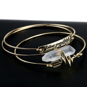 3PCS Personalized Stone Letter Engraved ID Bracelets - GOLDEN