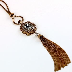 Vintage Artificial Crystal Tassel Sweater Chain - BLACK