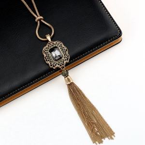Vintage Artificial Crystal Tassel Sweater Chain -