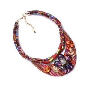 Ethnic Faux Crystal Floral Necklace - RED