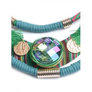 Ethnic Layered Faux Crystal Statement Necklace - GREEN