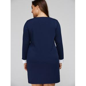 Plus Size Double-Breasted Patchwork Dress - PURPLISH BLUE 4XL