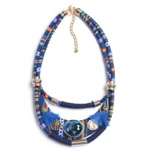 Retro Layered Faux Crystal Statement Necklace -