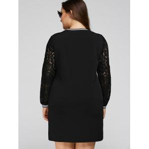 Lace Splicing Letters Knurling Plus Size Dress -