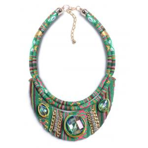 Vintage Oval Faux Crystal Statement Necklace -