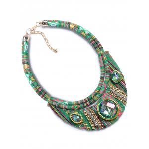 Vintage Oval Faux Crystal Statement Necklace - GREEN