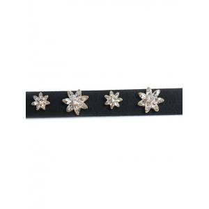 Floral Rhinestone Faux Leather Choker - GOLDEN
