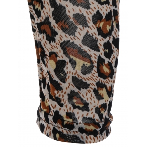 Backless Leopard Print T-Shirt with  Lace Panel -