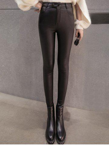 Buttoned Flocking Faux Leather Pants
