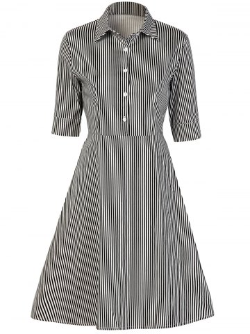 Online Vintage Button Design Striped A Line Dress STRIPE 2XL