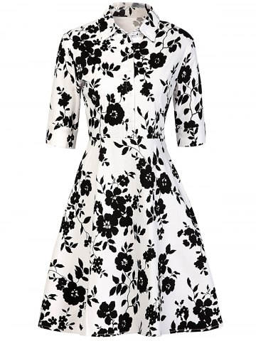 Best Vintage Buttoned Floral Print Dress WHITE AND BLACK 2XL