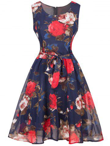 Trendy Retro Floral Print Belted Chiffon Dress
