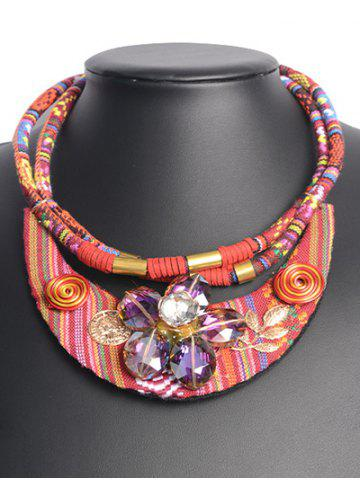 Shop Ethnic Faux Crystal Floral Necklace RED