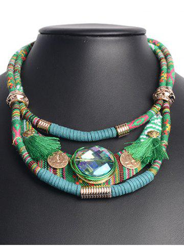 Affordable Ethnic Layered Faux Crystal Statement Necklace GREEN