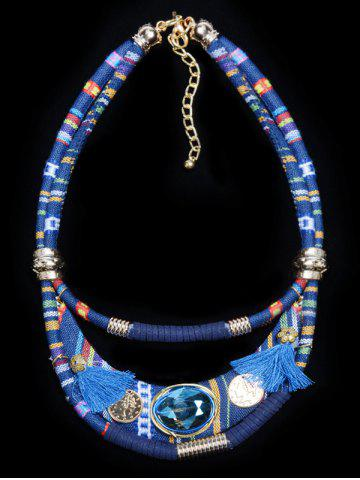 Ethnic Layered Faux Crystal Statement Necklace - Blue