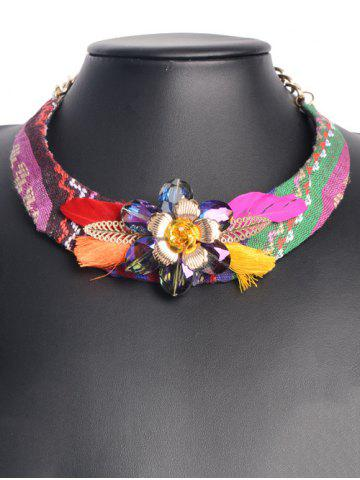 Hot Ethnic Floral Enamel Feather Statement Choker