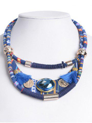 Online Retro Layered Faux Crystal Statement Necklace BLUE
