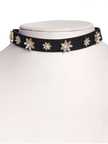 Online Floral Rhinestone Faux Leather Choker GOLDEN