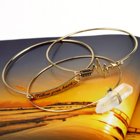Outfits 3PCS Personalized Stone Letter Engraved ID Bracelets - GOLDEN  Mobile