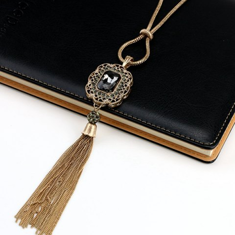 Fashion Vintage Artificial Crystal Tassel Sweater Chain - BLACK  Mobile