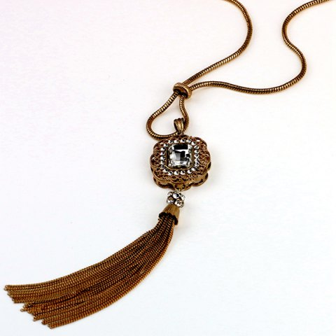 New Vintage Artificial Crystal Tassel Sweater Chain - BLACK  Mobile