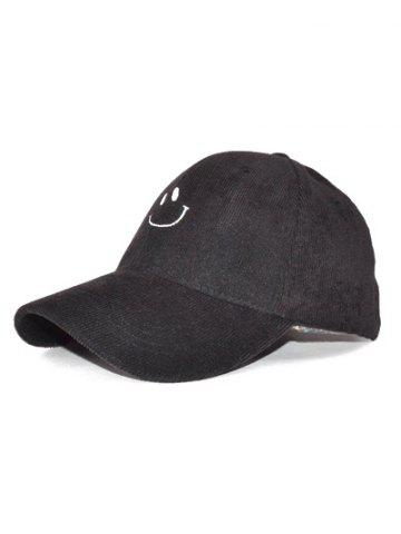 New Outdoor Smiling Face Embroidery Corduroy Baseball Hat