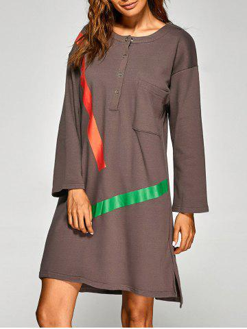 Side Slit Stripes Pattern High-Low Dress - CAMEL